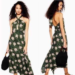 Topshop Hibiscus Floral Halter Neck Midi Dress